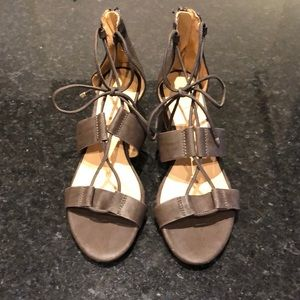Gray/Green Block Heeled Laced Sandals